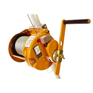 orange winch with steel cable, fitted to a metal pole