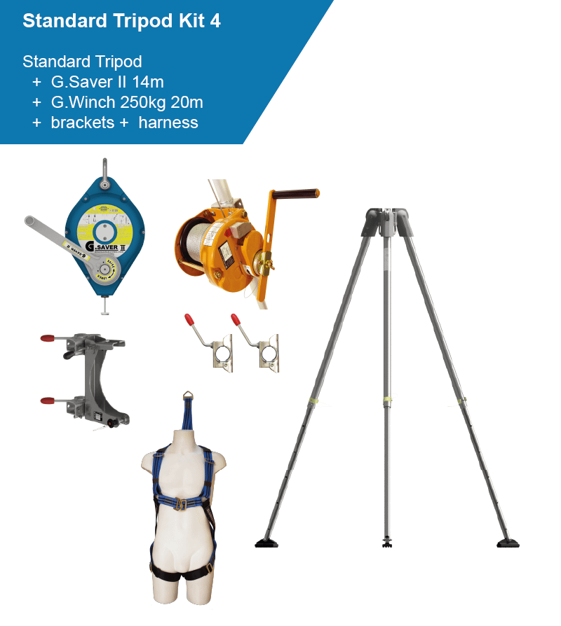 tripod kit including harness, man-riding winch and fall arrester
