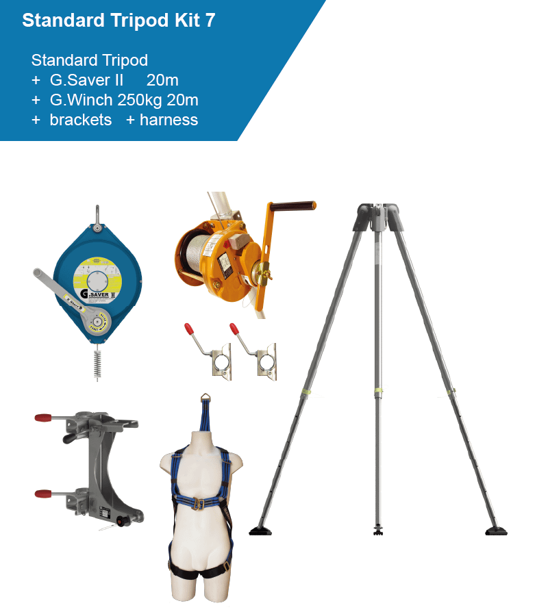 confined space access tripod with 250kg winch, arrester and harness