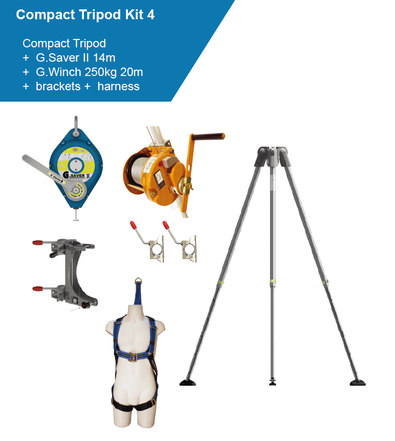 confined space kit with winch, lifeline and harness