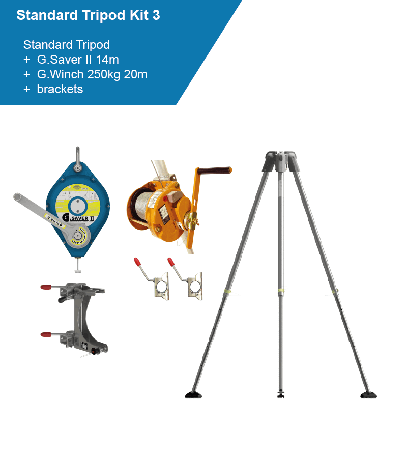 confined space kit with lifeline, winch and tripod.