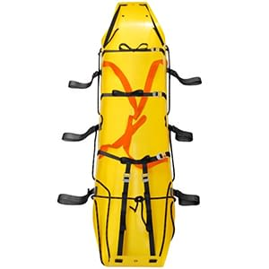 a yellow stretcher with webbing straps